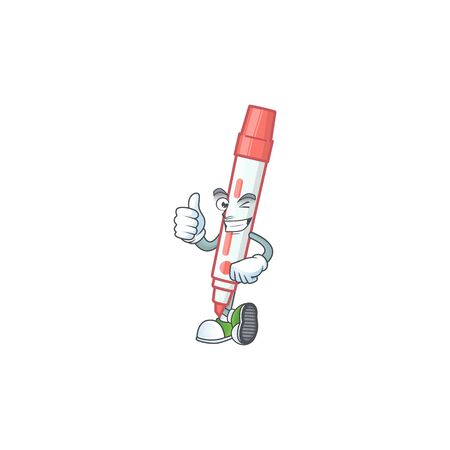 Thumbs up icon red white board marker with mascot