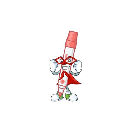 Super hero icon red white board marker with mascot