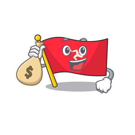 With money bag flag isle of man the mascot vector illustration