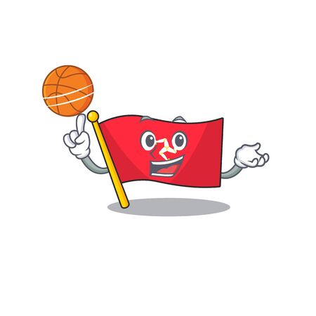 With basketball flag isle of man the mascot vector illustration