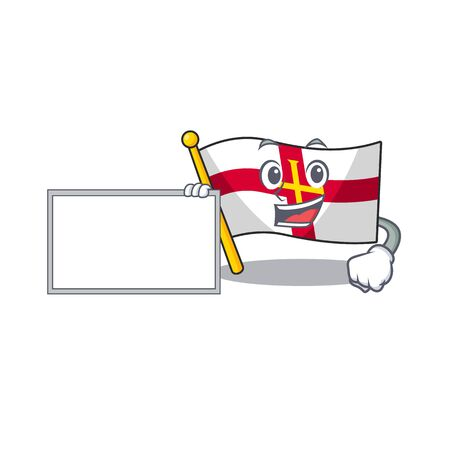 With board flag guernsey isolated in the mascot vector illustration