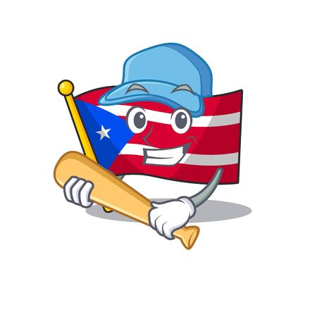 Playing baseball flag puerto rico in the cartoon