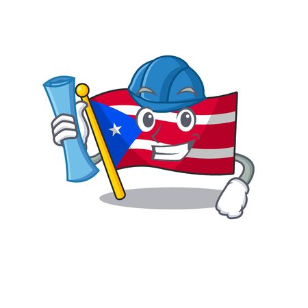 Architect flag puerto rico with the character