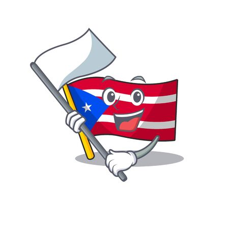 With flag flag puerto rico the mascot shape