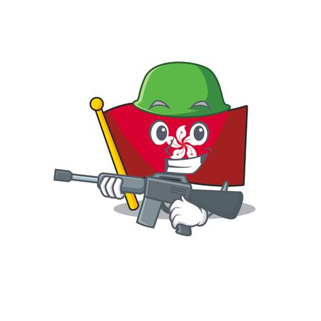 Army flag hongkong cartoon isolated the character 向量圖像