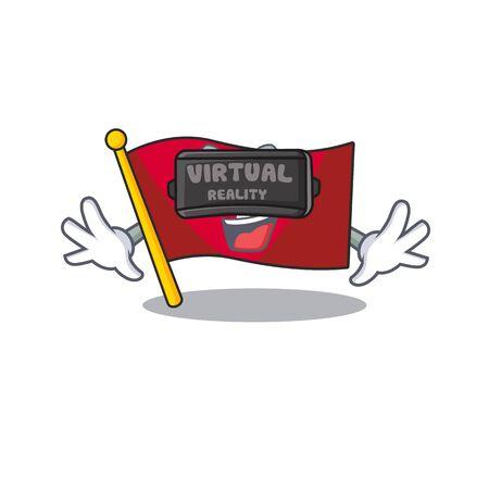 Virtual reality flag hongkong character with cartoon shape