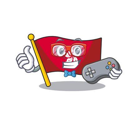 Gamer flag hongkong character with cartoon shape Ilustração