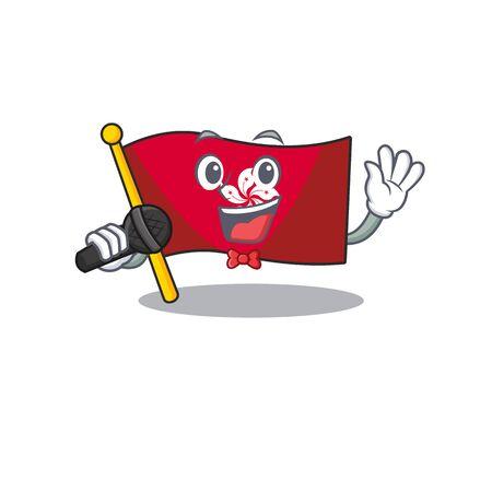 Singing flag hongkong character with cartoon shape