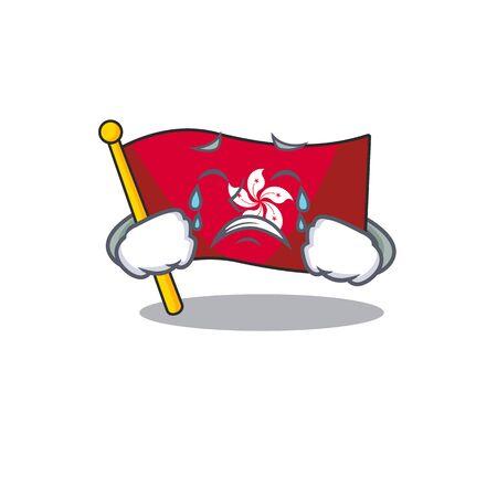 Crying flag hongkong character with cartoon shape