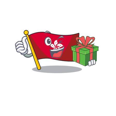 With gift flag hongkong character with cartoon shape Ilustração