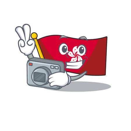 Photographer flag hongkong character with cartoon shape