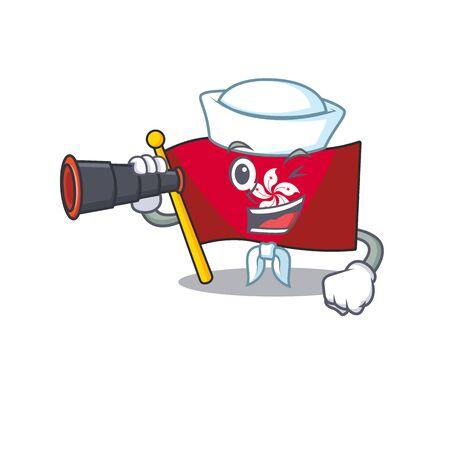 Sailor with binocular flag hongkong character with cartoon shape