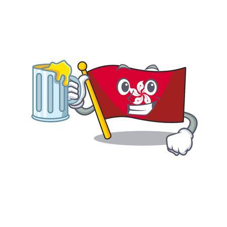 With juice flag hongkong character with cartoon shape Ilustração