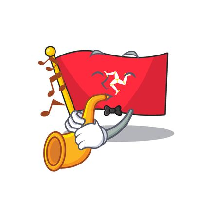 With trumpet flag isle of man isolated cartoon vector illustration