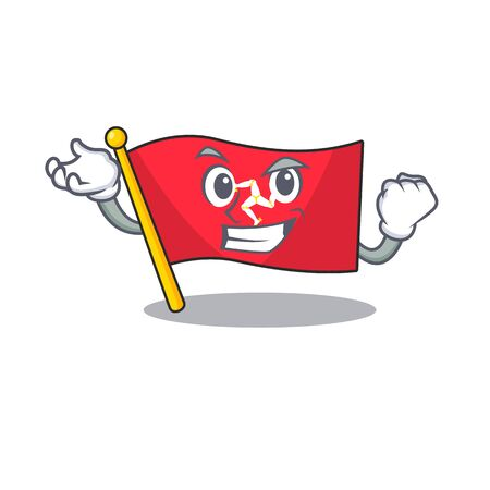 Successful flag isle of man on character vector illustration
