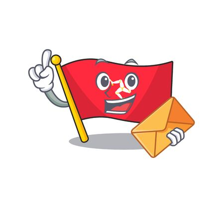 With envelope flag isle of man on character vector illustration