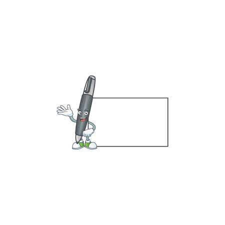 With board black ballpoint of bolpoin icon character. vector illustration Ilustração