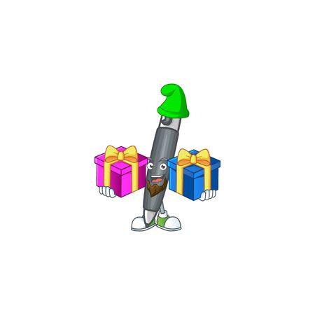 Bring two gifts black ballpoint cartoon character with mascot