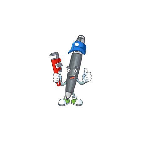 Plumber black ballpoint cartoon character with mascot