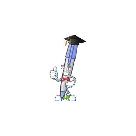 Graduation blue ballpoint isolated on white background Ilustração
