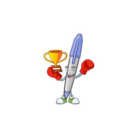 Boxing winner blue ballpoint for the notes writing. Stock Illustratie