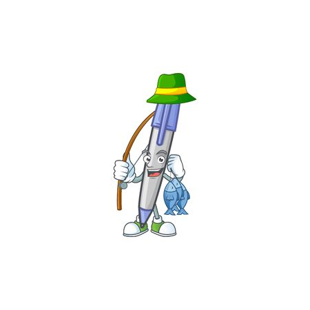 Fishing blue ballpoint in the character shape. Stock Illustratie