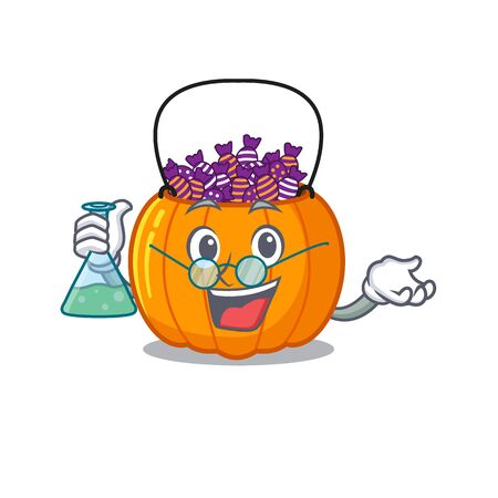 Professor candy bucket isolated in the mascot vector illustration