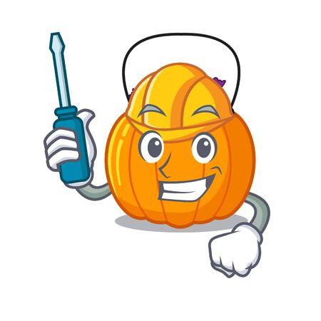 Automotive candy bucket in the cartoon refrigerator vector illustration