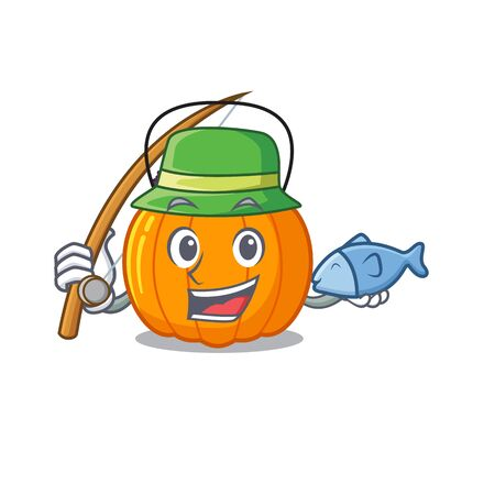 Fishing candy bucket on with the character vector illustration