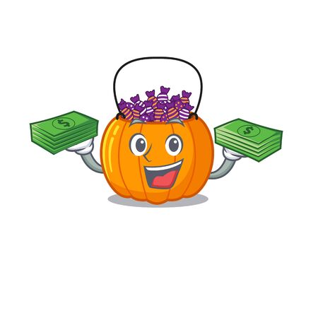 With money candy bucket on with the character vector illustration