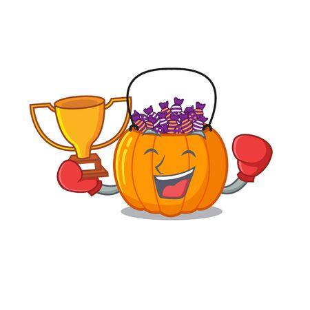 Boxing winner candy bucket in the cartoon refrigerator vector illustration 向量圖像