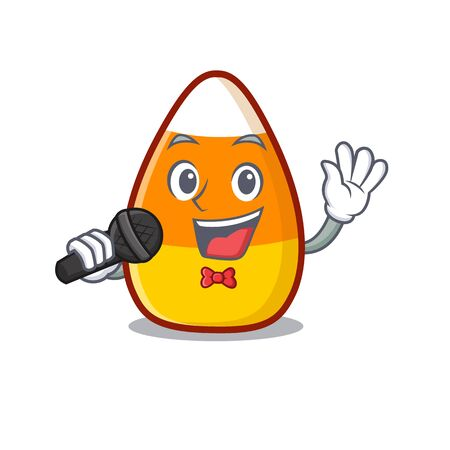 Singing candy corn in a mascot jar vector illustration