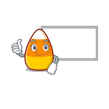 Thumbs up with board candy corn isolated with the cartoon vector illustration