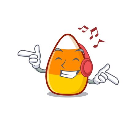 Listening music candy corn in a mascot jar vector illustration