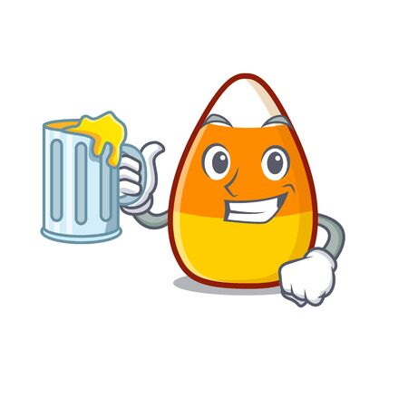 With juice candy corn in a mascot jar vector illustration
