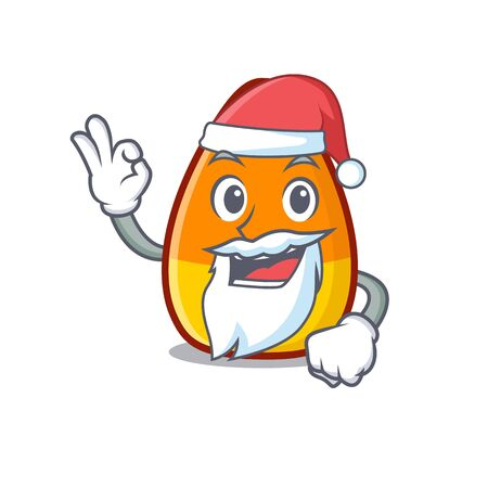 Santa candy corn placed on character plate vector illustration