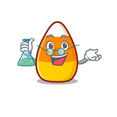 Professor candy corn cartoon with character shape vector illustration