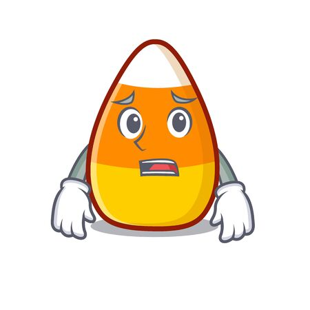 Afraid candy corn in a mascot jar vector illustration Ilustração