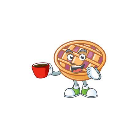 Drinking in cup purple pie thanksgiving in the mascot Vektoros illusztráció