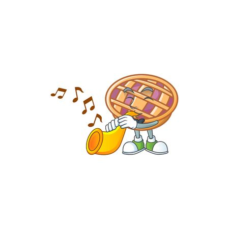 With trumpet purple pie thanksgiving on white background vector illustration