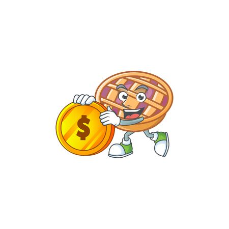 Bring coin fresh purple pie thanksgiving with nutrition. vector illustration