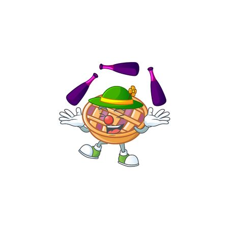 Juggling fresh purple pie thanksgiving with nutrition. vector illustration 일러스트