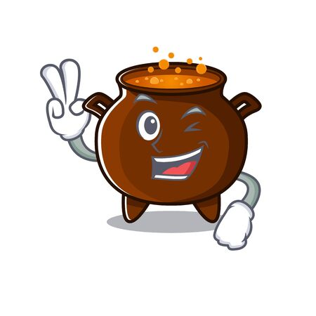 Two finger cauldron with in the mascot shape vector illustration