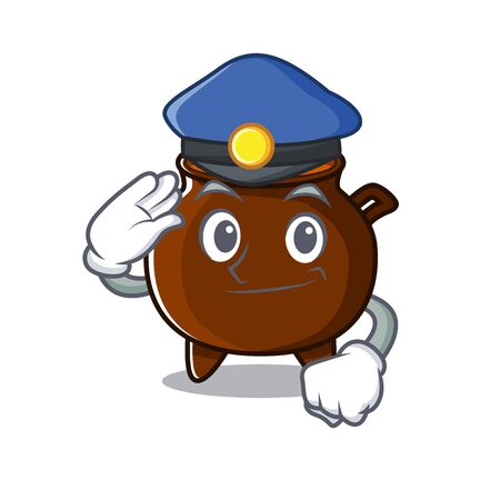 Police cauldron with in the isolated cartoon vector illustration