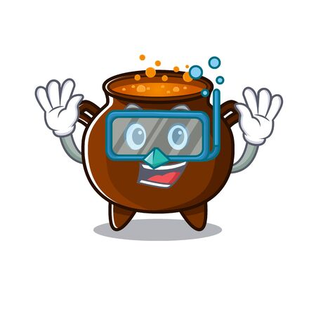 Diving cauldron with in the mascot shape vector illustration Çizim