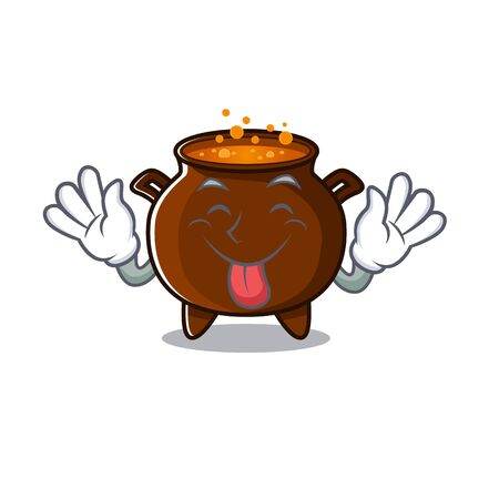 Tongue out miniature cauldron in the a cartoon vector illustration