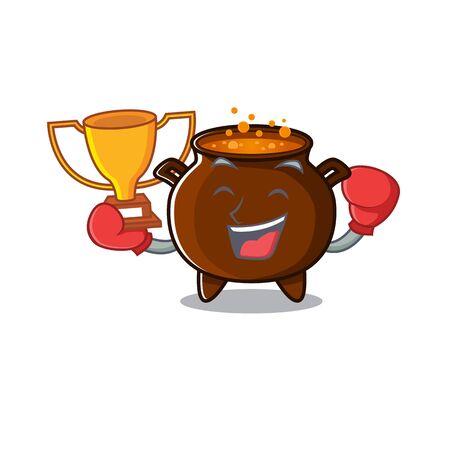 Boxing winner miniature cauldron in the a cartoon vector illustration