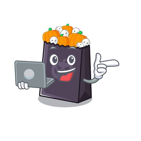 With laptop halloween bag mascot isolated with cartoon vector illustration