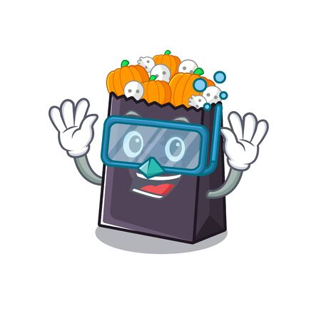 Diving halloween bag stored in character drawer vector illustration