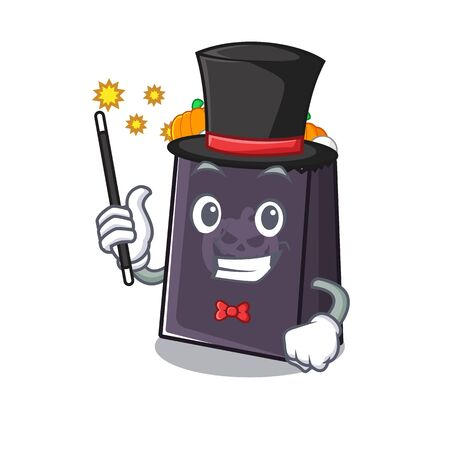Magician halloween bag with the mascot shape vector illustration